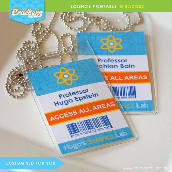 SCIENCE Party Lab ID Badges Blue DIY Printable Customised PDFs - Mad scientist name tag template