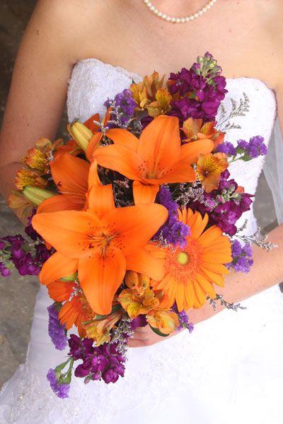 Purple And Orange Flowers Wedding Bouquet South Dakota