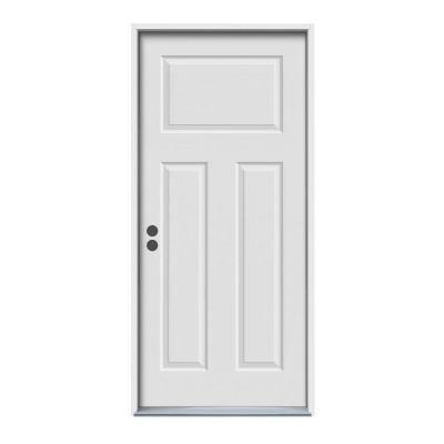 Jeld Wen 36 In X 80 In 3 Panel Craftsman Primed Right Hand Inswing Steel Prehung Front Door W Brickmould N11456 The Home Depot Steel Front Door Steel Doors Exterior Entry Doors