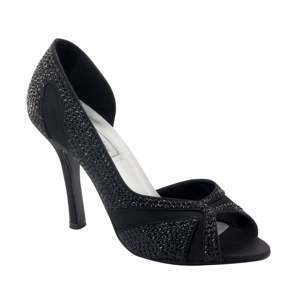 Black Satin and Sequined Peep Toe Court Shoes 88HUcY