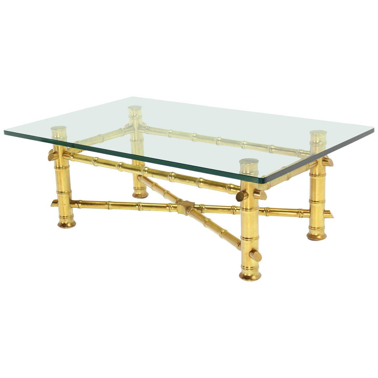 Gold Leaf Faux Bamboo Base Coffee Table With Thick Gl Top