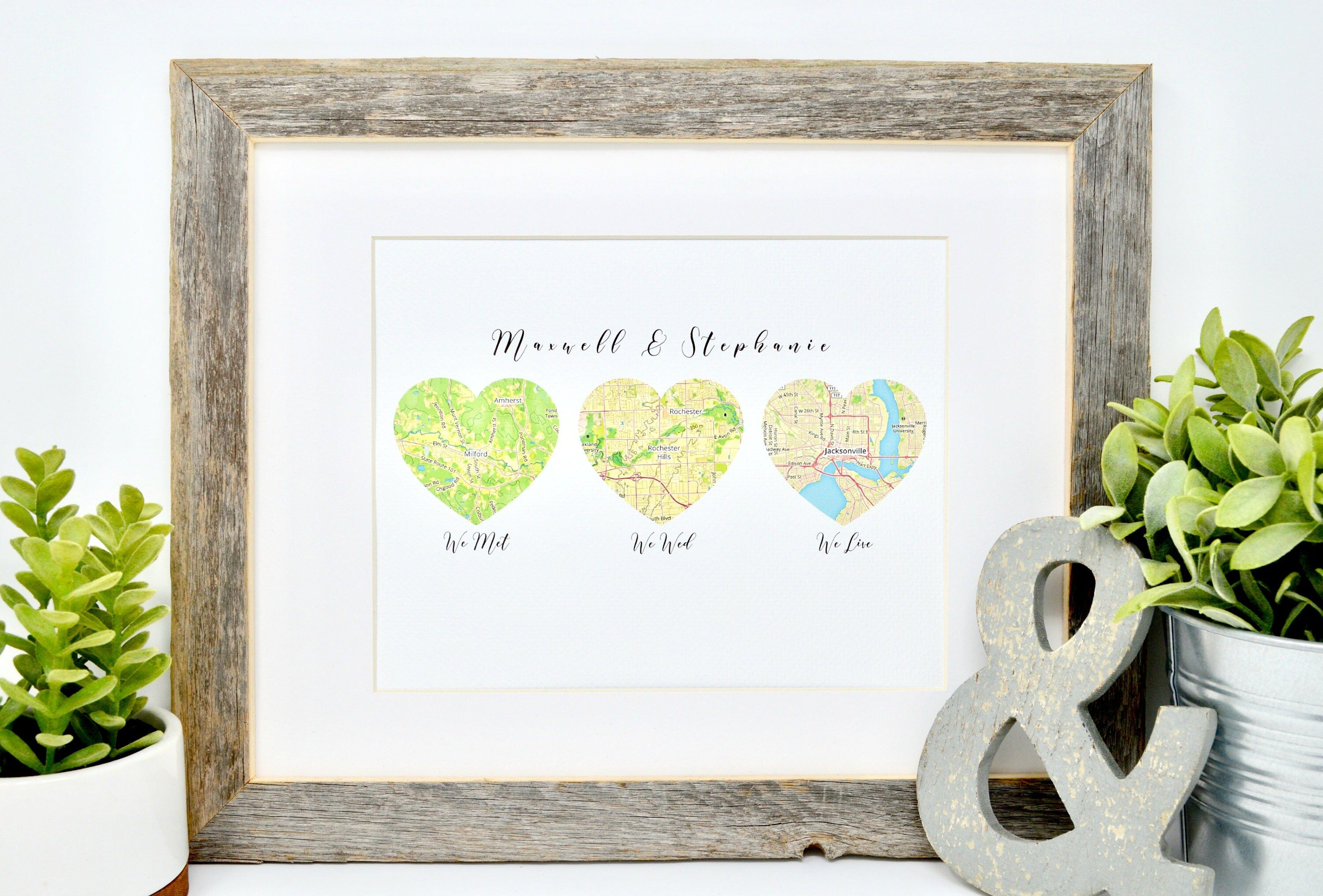 """""""Let us tell your love story in a unique way with our vibrant map print! Your choice of 3 locations representing where you met, wed, and live {Or other milestones if you prefer!}. If some of these special memories occurred in the same area we can zoom in a bit closer to differentiate. Take your love for a walk down memory lane with a romantic gift that will be cherished for years to come! For options with more or less locations check back at our home page! HOW TO ORDER Please give the following"""