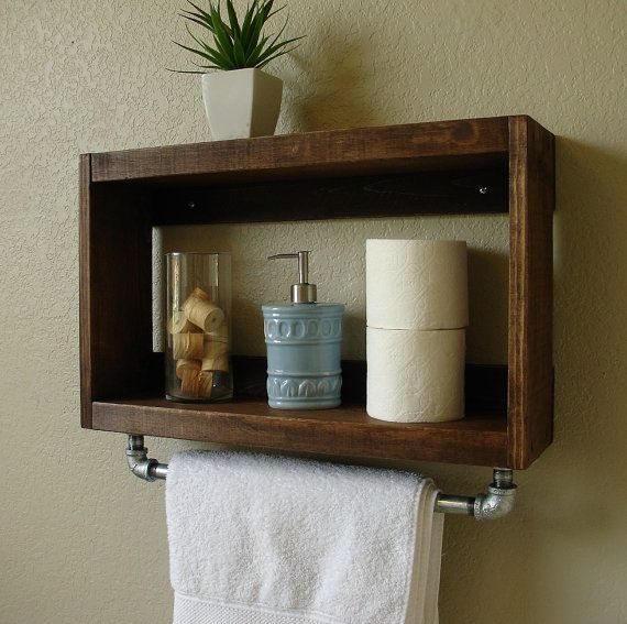 The Home Depot Simply Modern Rustic Bathroom Shelf W Room - Bathroom wall shelf with towel bar for bathroom decor ideas