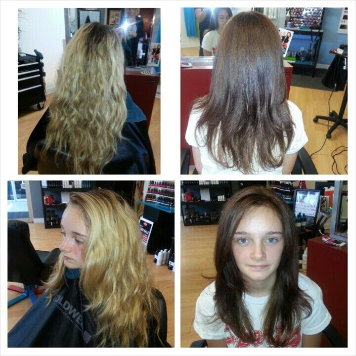 From blonde to a natural brunette - Hair by Stephanie