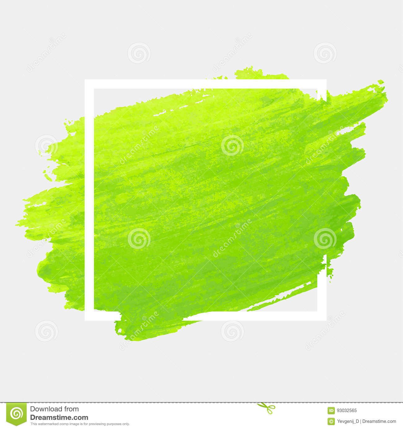 Green Watercolor Stroke With White Frame Grunge Abstract