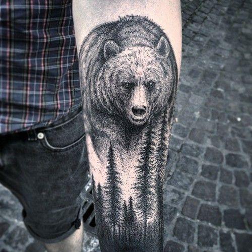 Tatouage Ours Et Sapins Bras Tatoo Tattoos Bear Tattoos
