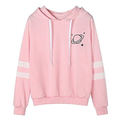 7284fa40f0c6 Handyulong Women Sweatshirts Teen Girls Casual Long Sleeve Planet Print  Hoodie Pullover Tops Jumper Hooded Blouse