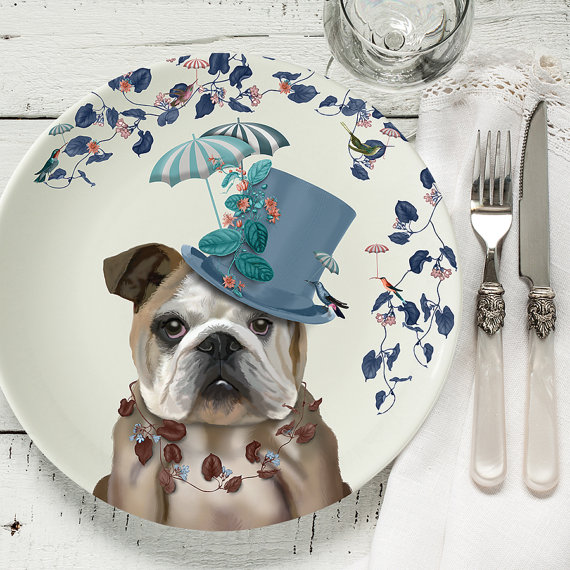 Bone china plate English Bulldog Milliners Dog English Bulldog gift ...