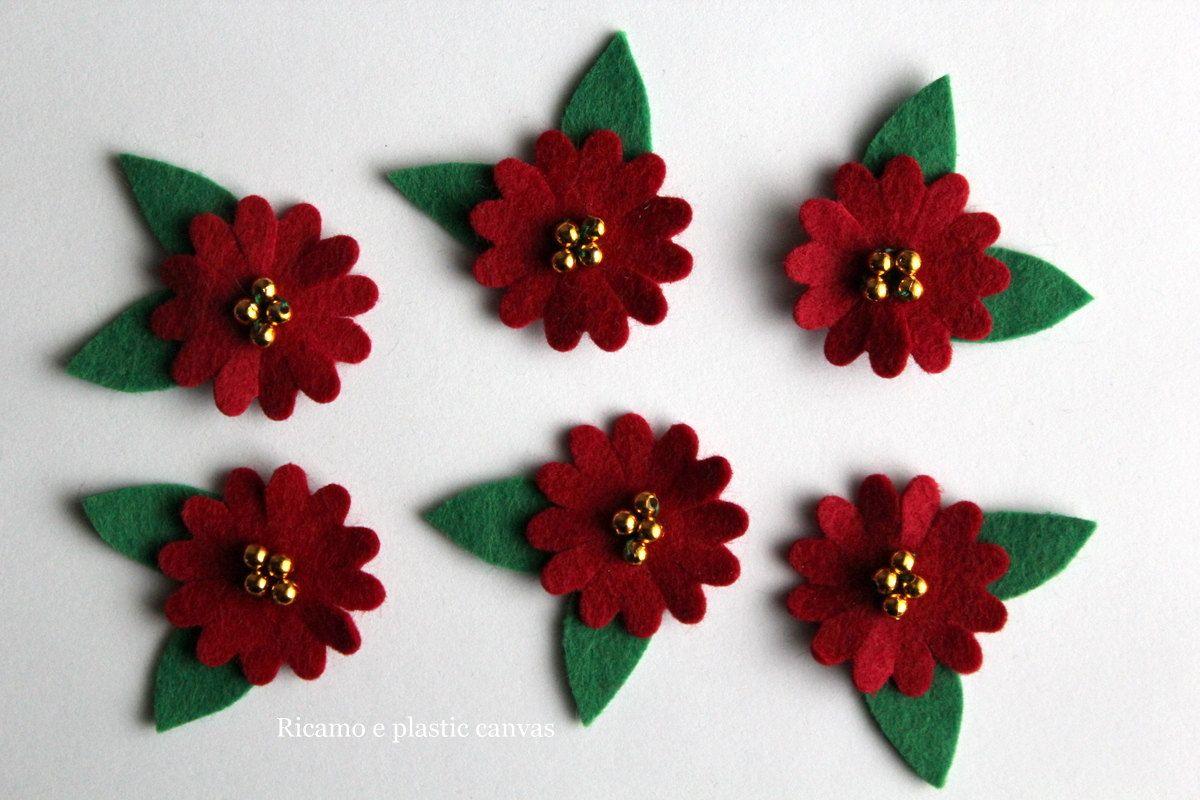 Fiori di feltro fiori rossi con foglie applicazioni di feltro
