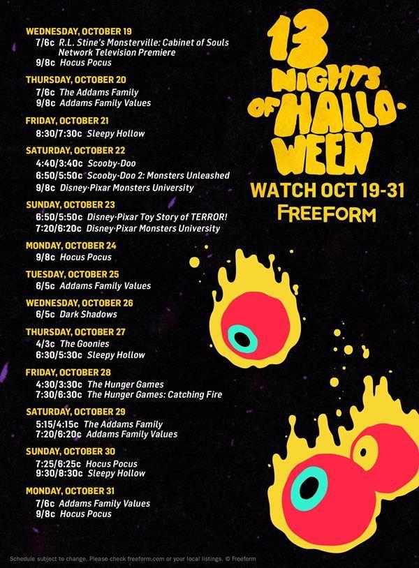 2020 Halloween Shows Free Halloween TV Movie Schedule for 2020 | Halloween movies on tv