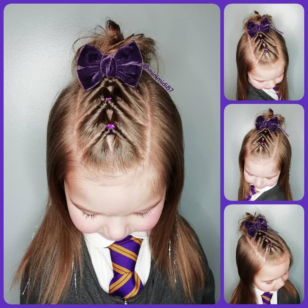 Mairi On Instagram Flips And Messy Bun Beautiful Velvet Bow By Livvyandlou Minimidi8 In 2020 Hair Styles Kids Hairstyles Girls Lil Girl Hairstyles