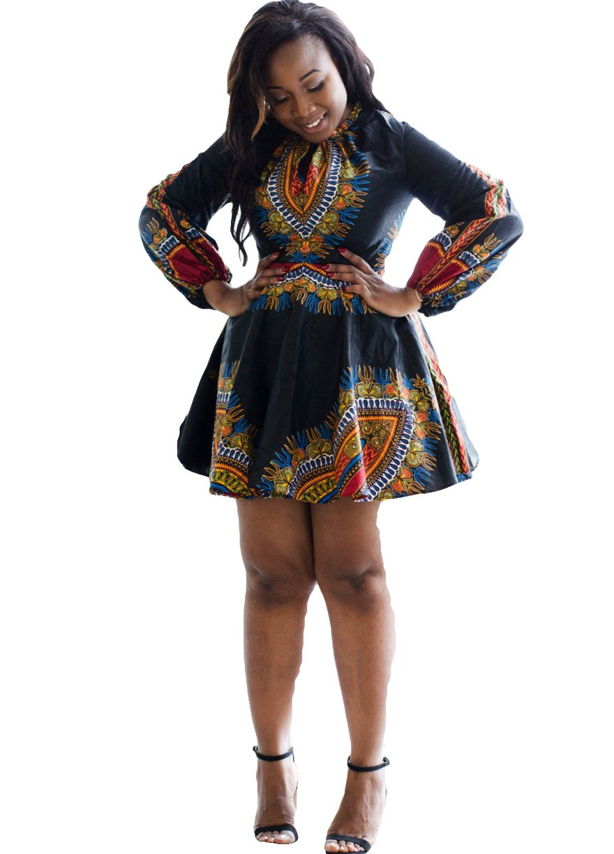 Long Sleeve African Print Belted Plus Size Dress_Print ...