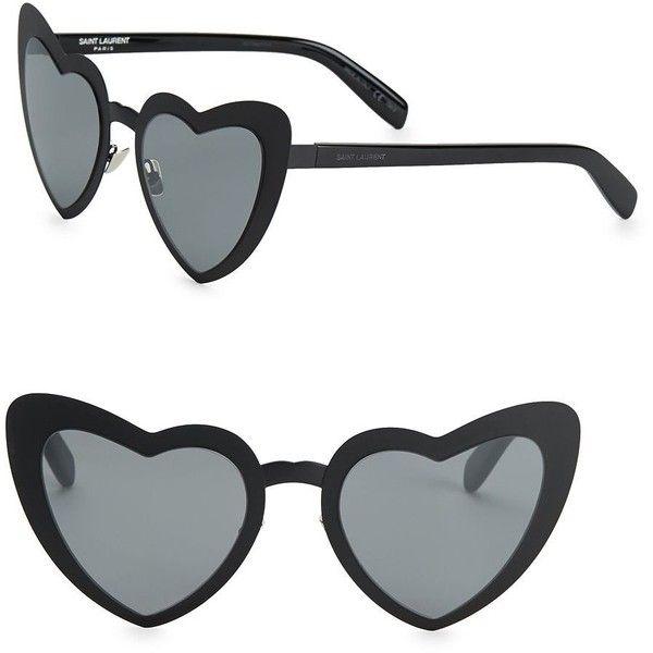 b9de67f8c4b3 Saint Laurent SL 196 53MM Lou Lou Heart-Shaped Sunglasses ($490) ❤ liked