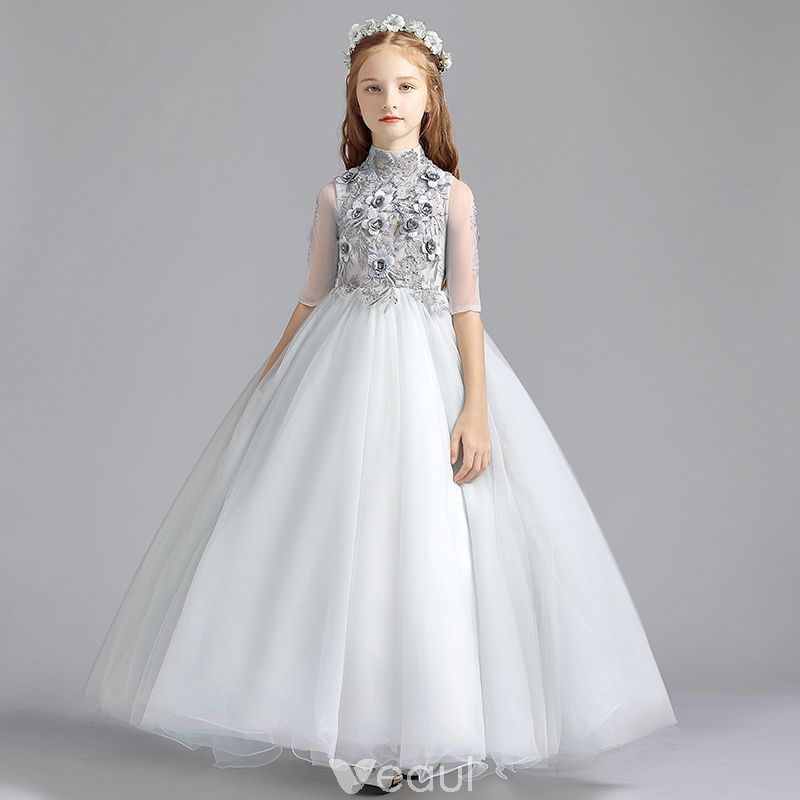 d2d2fa289 Vintage / Retro Grey Flower Girl Dresses 2019 A-Line / Princess High Neck  1/2 Sleeves Appliques Lace Pearl Floor-Length / Long Ruffle Wedding Party  Dresses