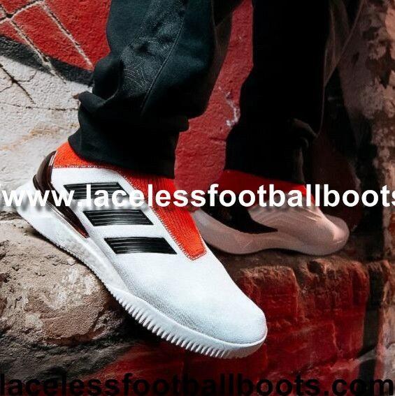 Light Adidas Predator Tango 18+ TR Laceless Football Boots White Core Black  Real Coral Adidas d2bc22583dd7f