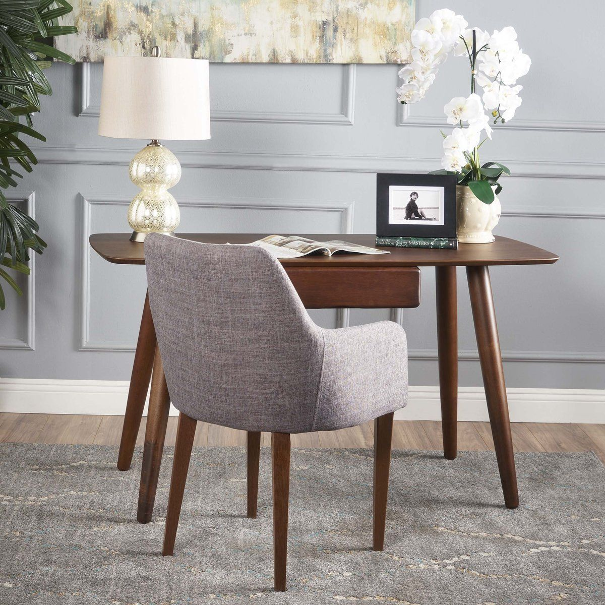 Khan finish wood study table with faux wood overlay cool