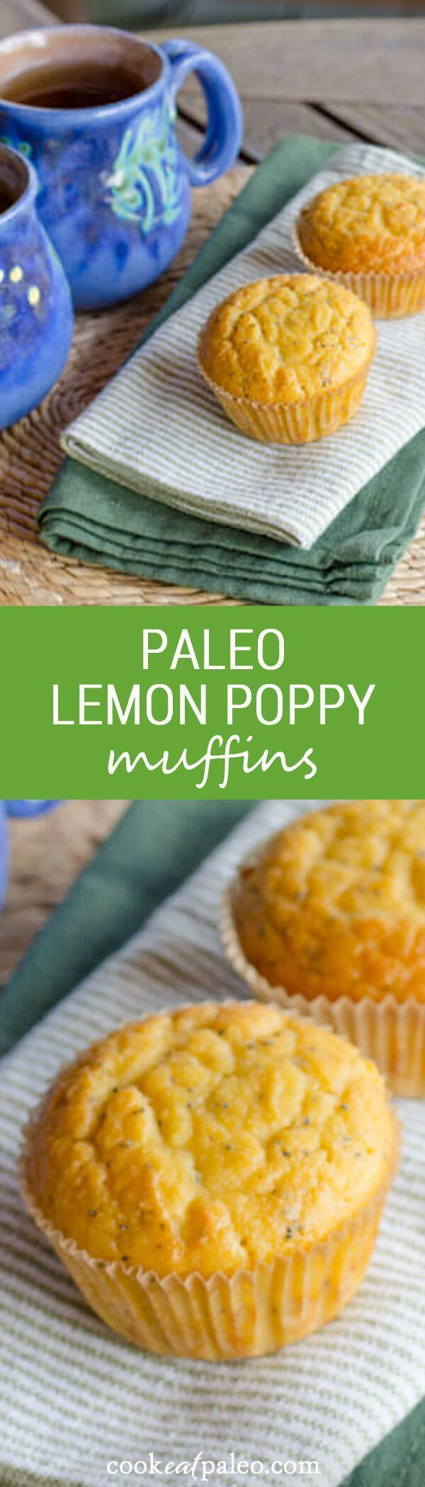 Lemon poppy paleo muffins are quick and easy gluten free recipe. Just add everything to the food processor — the batter is ready in about five minutes.