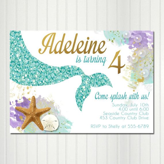 Mermaid Invitation Birthday Party Under The Sea Invitations Digital Invite Print