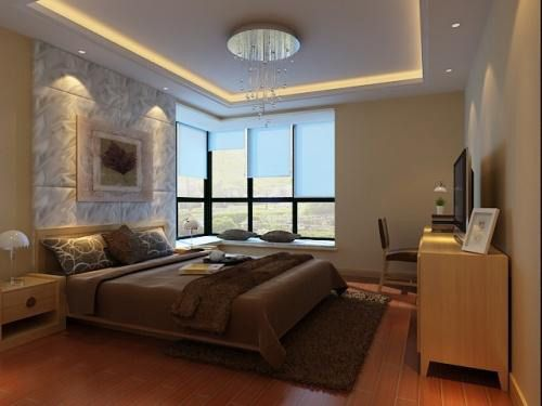 Small Master Bedroom With Modern False Ceiling Ideas