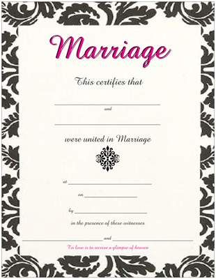 Black \ Pink Damask Wedding Marriage Certificate center emblem - sample marriage certificate