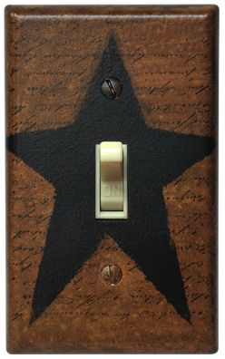 Primitive Crackle Tan /& Brown Star Single Switch Plate ~ Country Decor