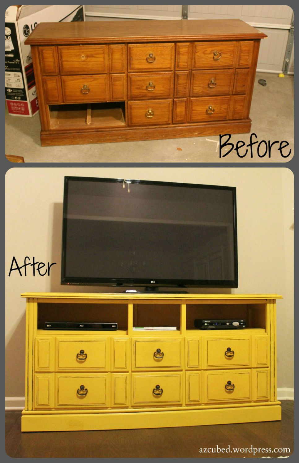 Before and After Tv Console | DIY | Pinterest | Mesas y Decoración