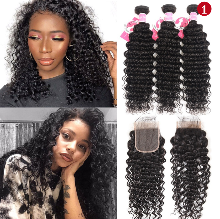 Pin by eseewigs on Deep Wave 4x4 Lace Closure with 3 Bundles