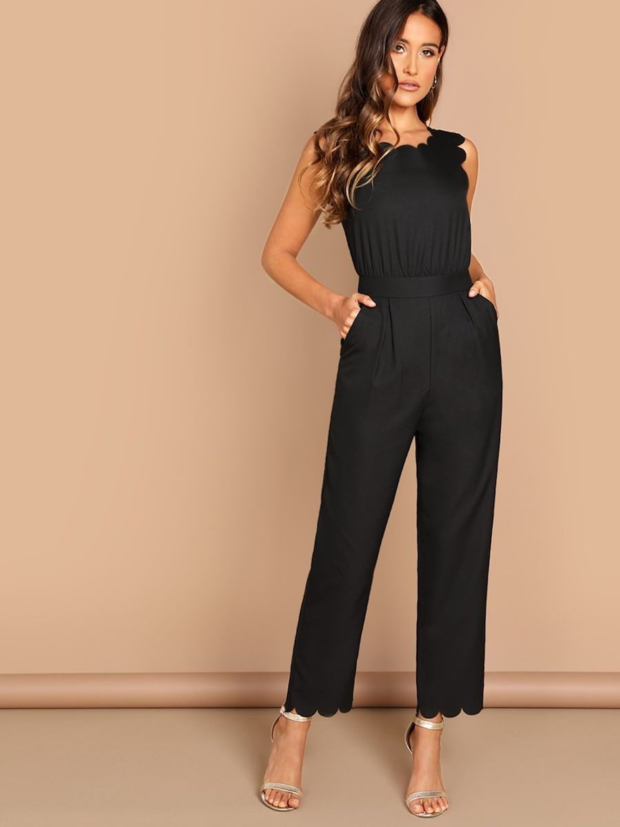 0728bb6b4 Scallop Edge Solid Jumpsuit -SHEIN(SHEINSIDE) | 2019 Style in 2019 ...