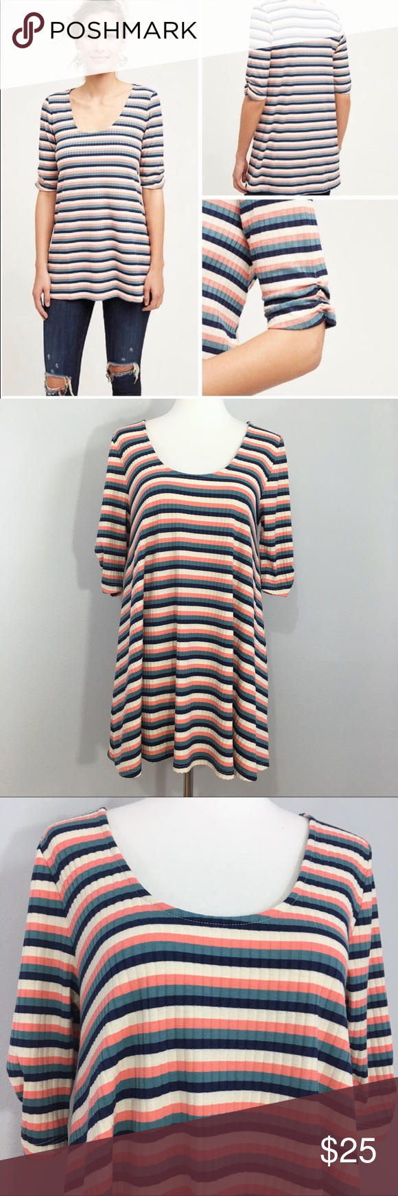 649368a13f8 Anthropologie Puella Cosima Striped Textured Tunic Beautiful striped swing  tunic top from Anthropologie brand Puella,