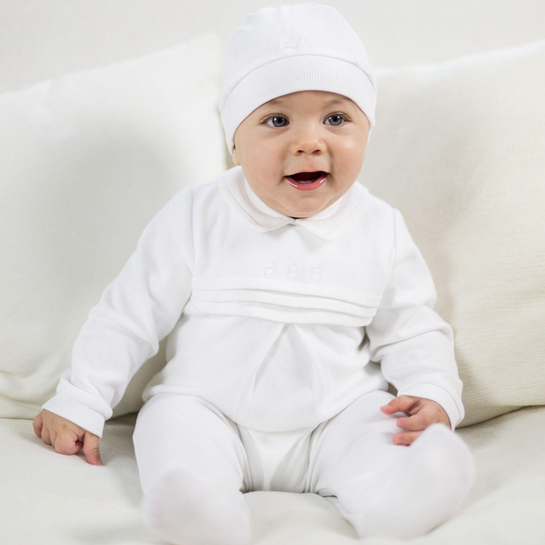 Kieran Baby Boy White Babygrow with Hat This cute soft sleepsuit