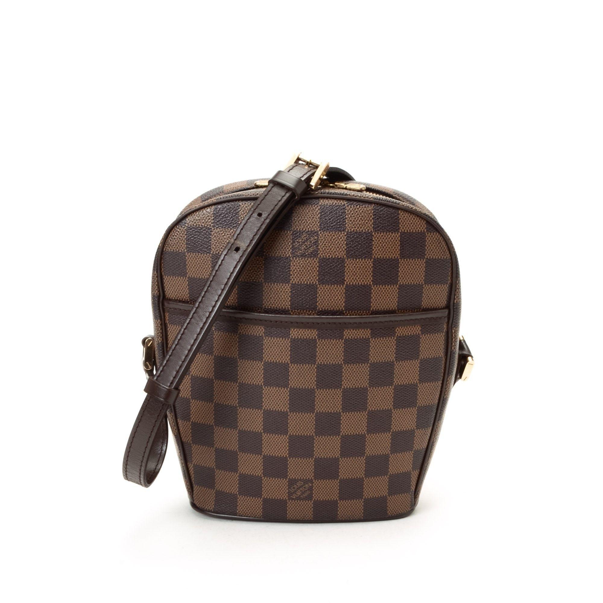 9ad1bfbee635 Louis Vuitton Ipanema PM Damier Ebene Brown Coated Canvas Messenger   Crossbody  Bag