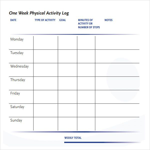 Image result for one week workout journal Fitness Pinterest - weekly log template
