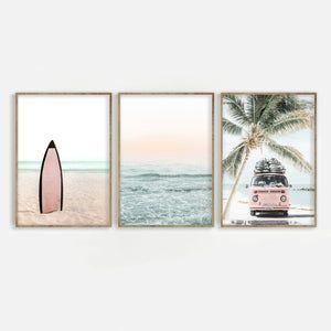 Beach Print Set of 3 Palm Tree & Ocean Digital Dow