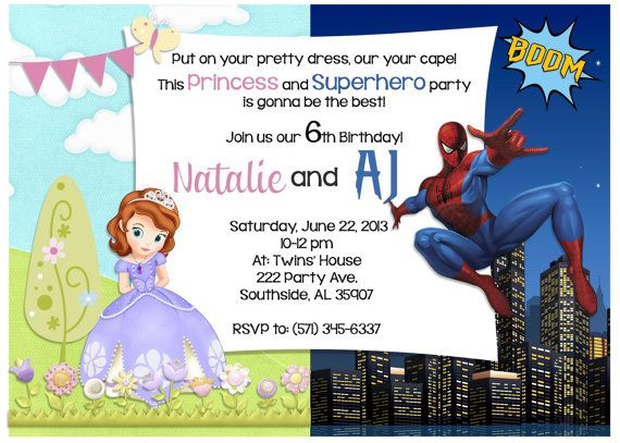 Twins Birthday Invitation Card Sofia The First And By EZPARTYKITS - Birthday invitation cards twins