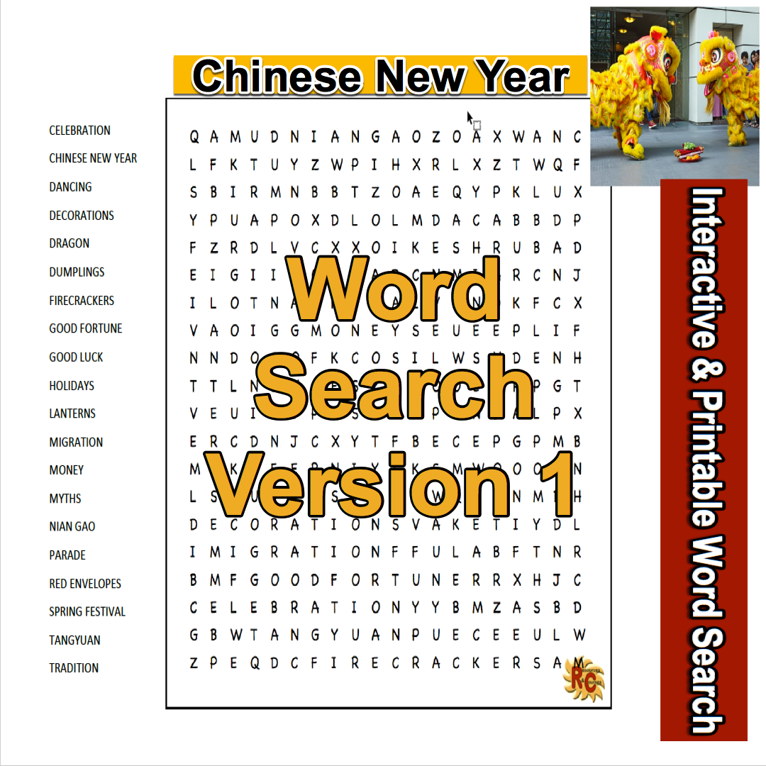 Chinese New Year Word Search with a Twist from Resources