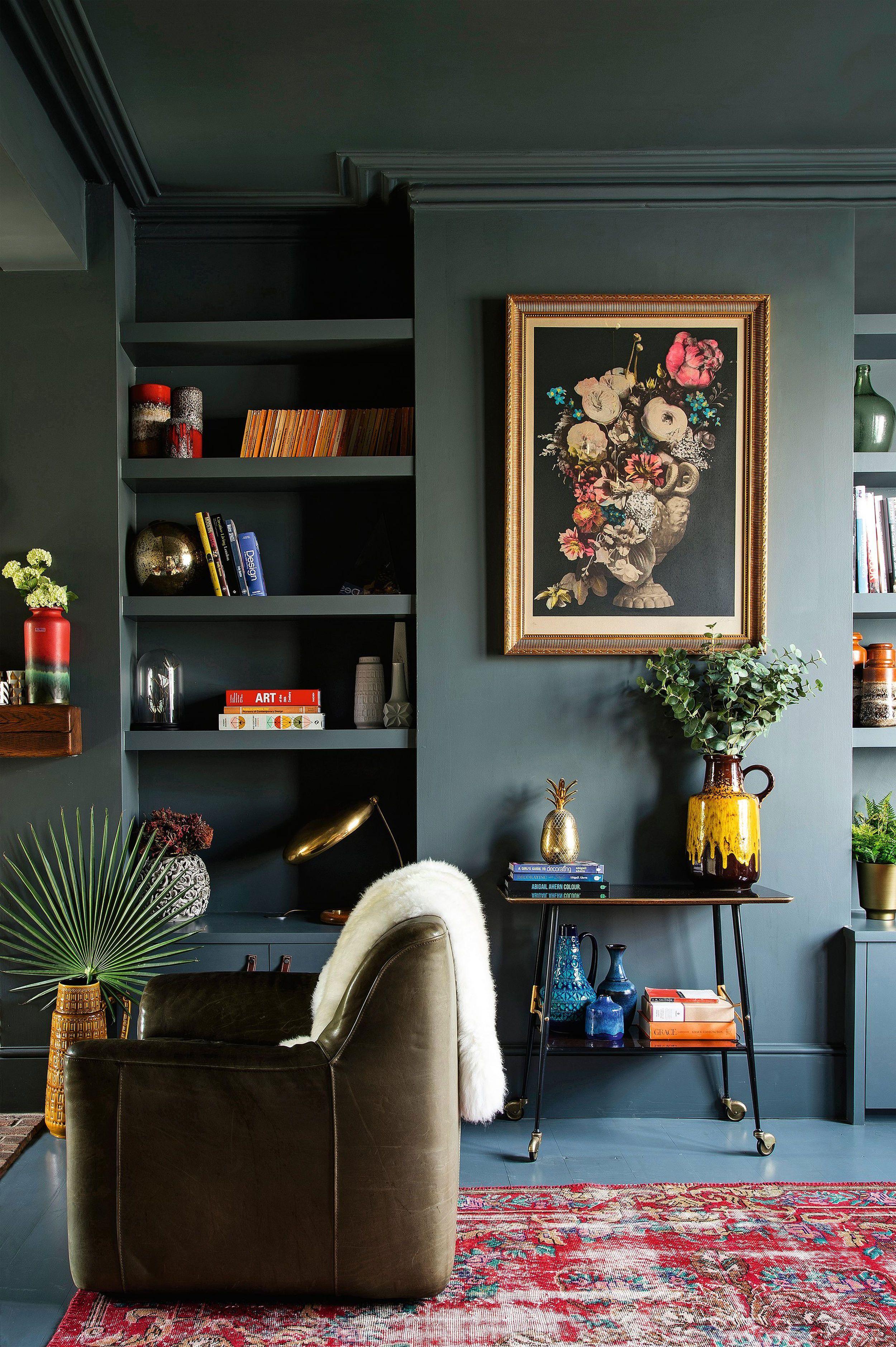 Emily Henderson Modern #victorian Trend Eclectic Boho Moody Velvet Tufted  Fringe Detailed Dramatic Living Room