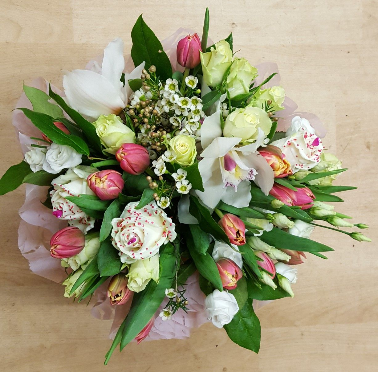 Hand tied flower bouquet created by the country florist wn8 8uh uk hand tied flower bouquet created by the country florist wn8 8uh uk pretty shades of pink bouquet of fresh tulips roses orchids and chocolate scented izmirmasajfo Gallery