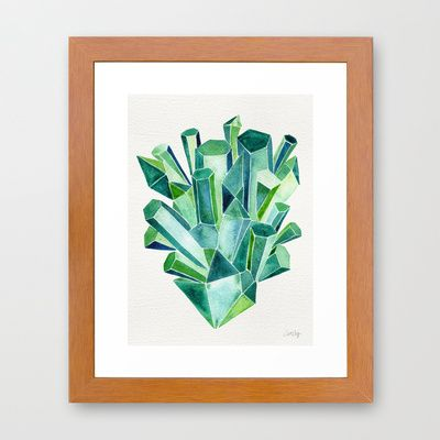 Emerald Watercolor Framed Art Print
