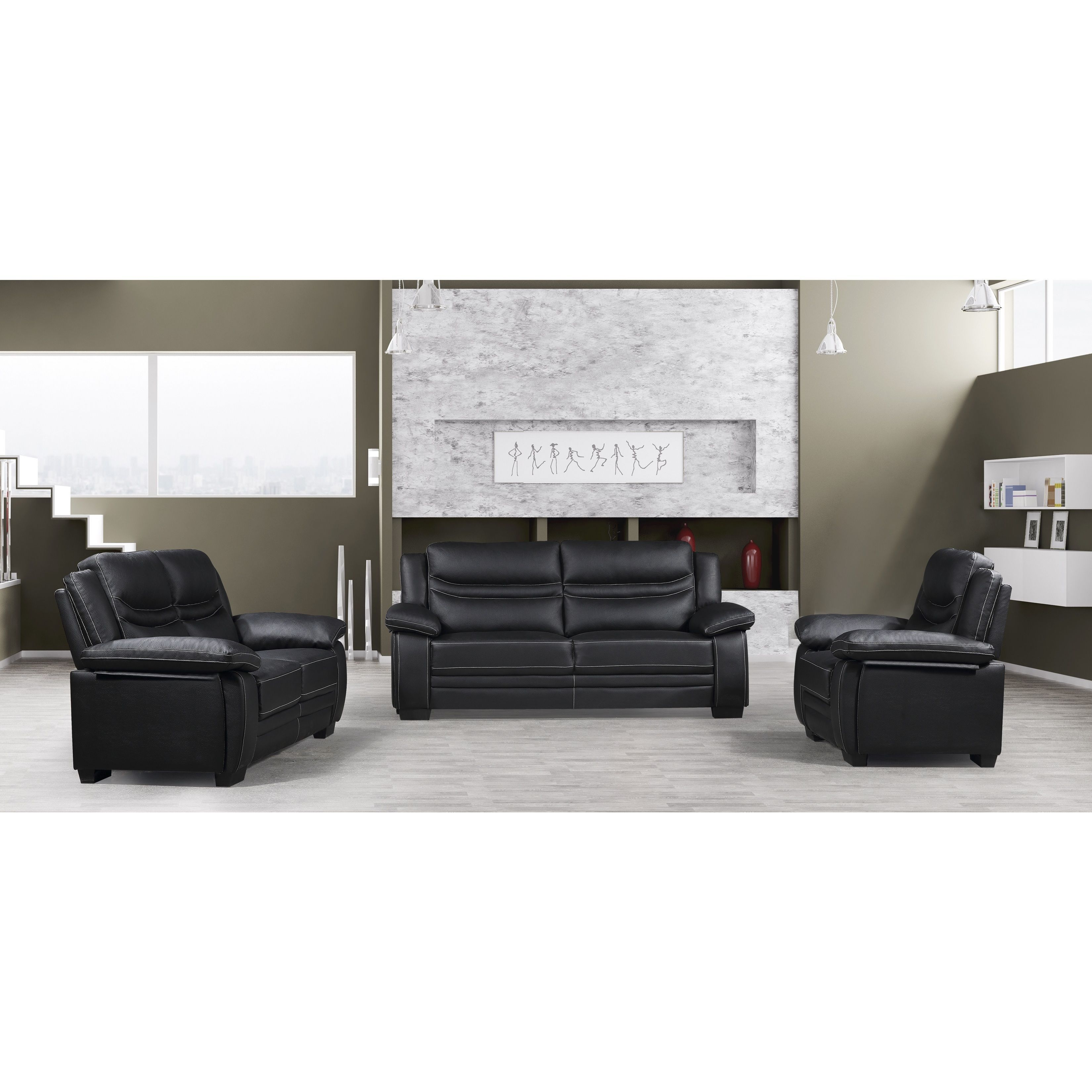 Potenza 2 Pieces Sectional Sofa With Ottoman Upholstered In Bonded