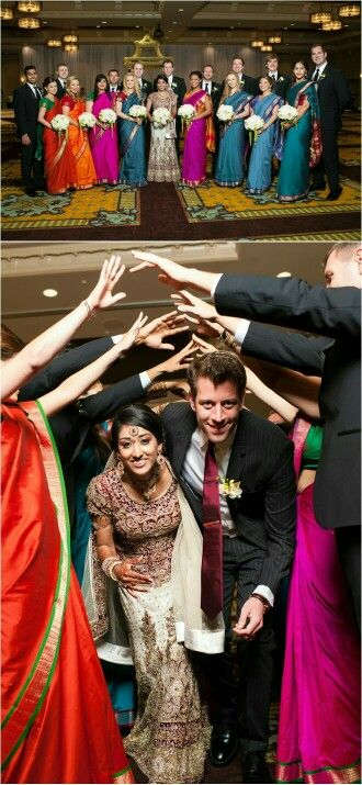 Love this wedding exit for your fusion wedding or indian wedding exit / vidaai exit  - have your wedding party line up and walk under - don't forget the pics!