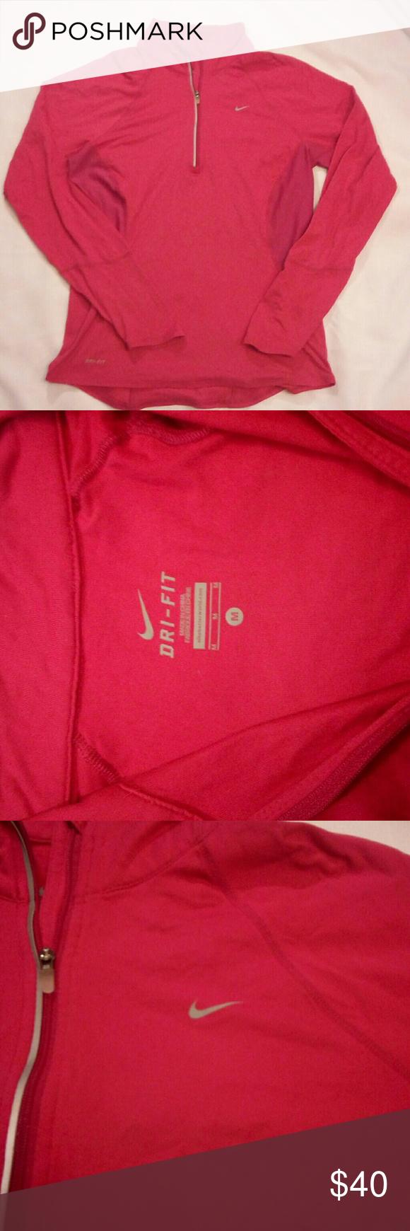 online store 25a57 2ddfe Like new - pink Nike running sweater size medium Medium Like new Hot pink  Perfect for spring Nike Nike Tops Sweatshirts   Hoodies