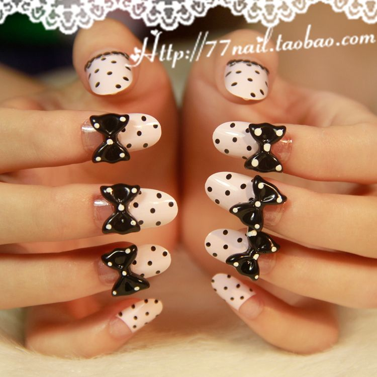 Aliexpress.com : Buy Japanese Style Kawaii False nail,3d bowknot ...