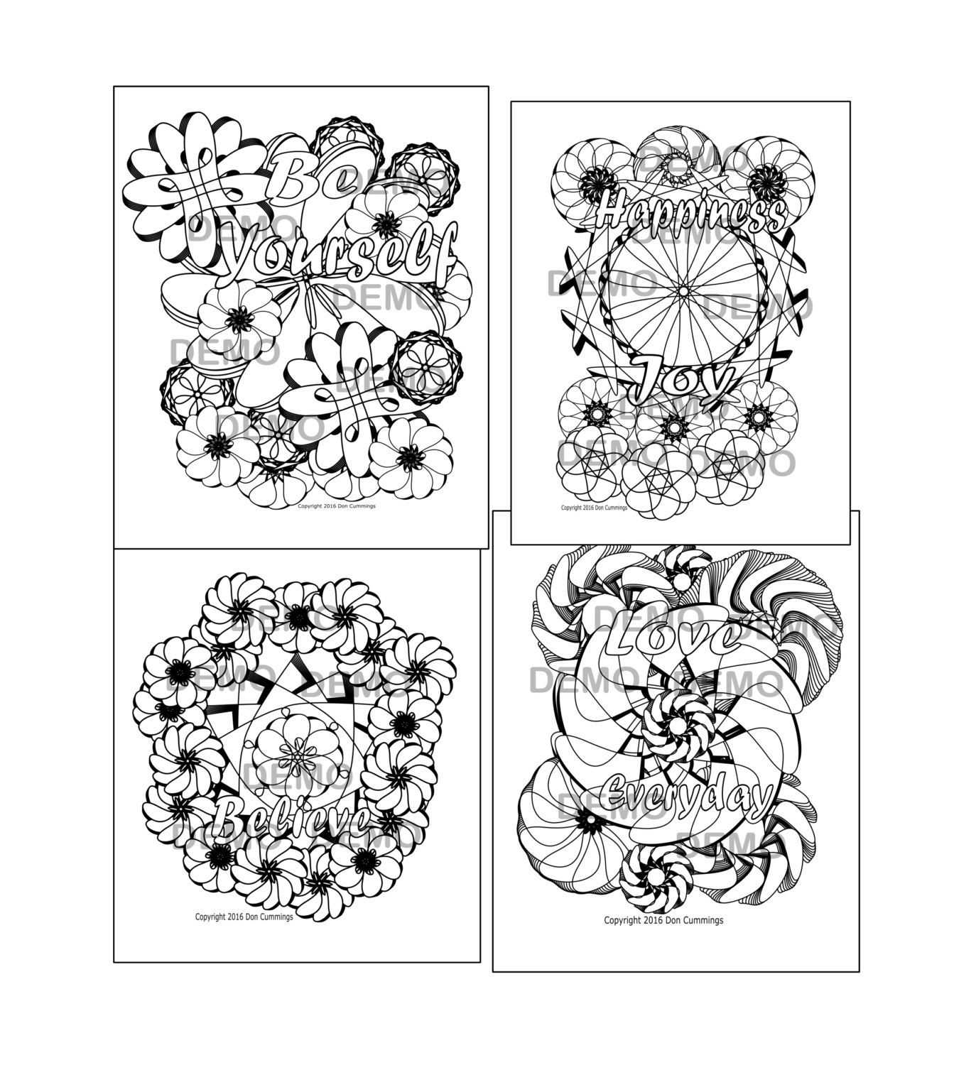 Postive Words Coloring Page Bundle-Adult by SwearingAndColoring