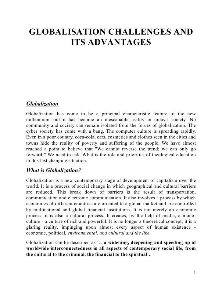 Globalisation It Challenge And Advantage Essay Writing Skill Global Globalization Essays