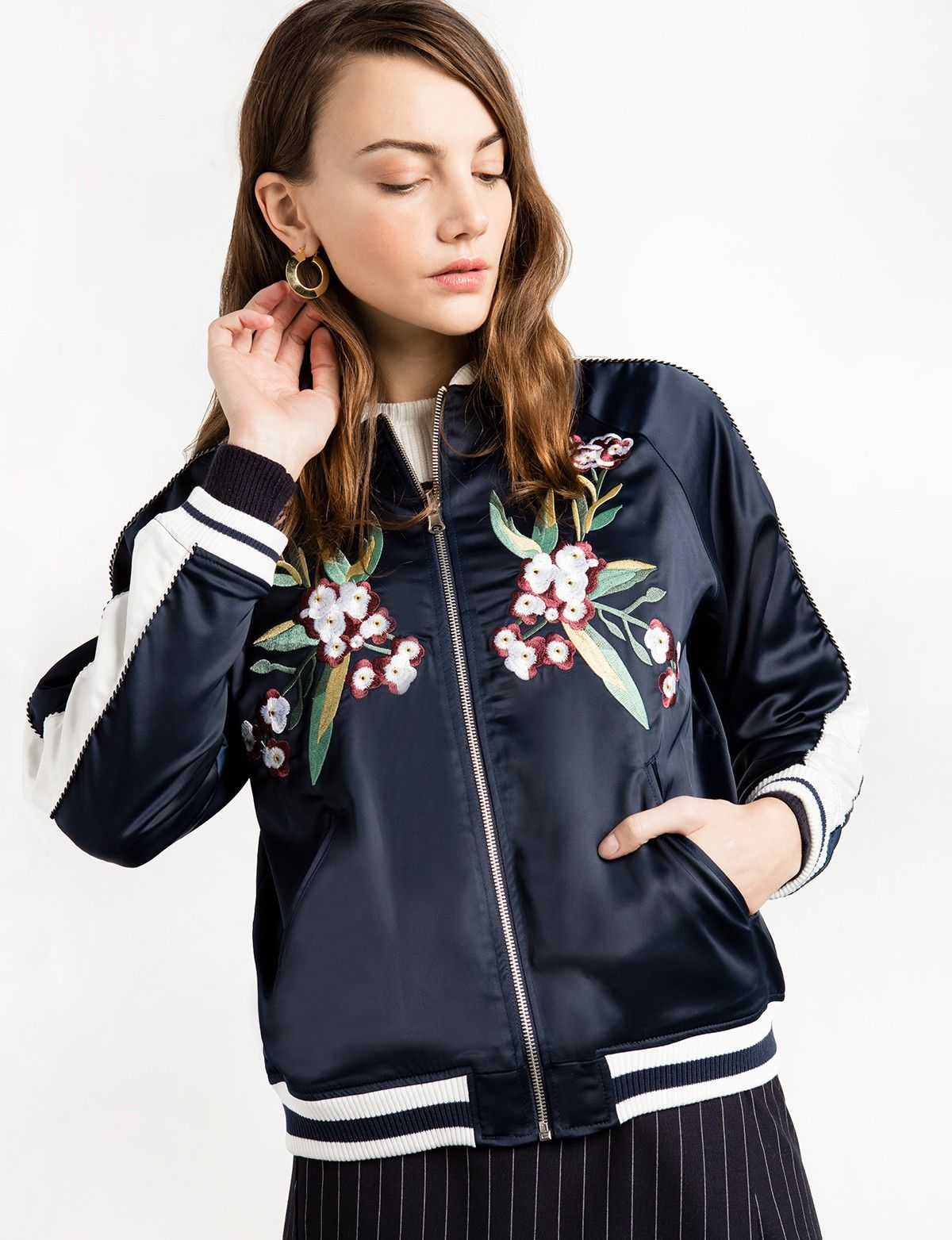 Navy Reversible Floral Bomber Jacket Fashion Winter Fashion Looks Floral Bomber Jacket [ 1563 x 1200 Pixel ]