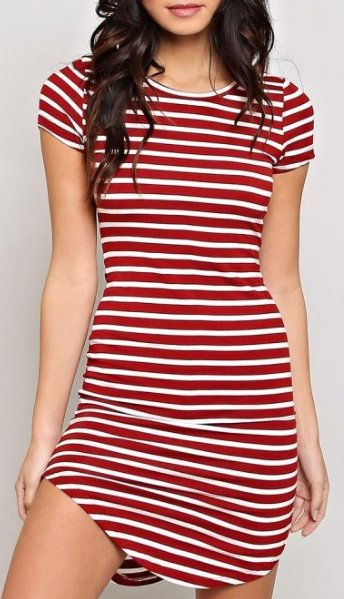 abefc9d9f3765 Heart & Hips Striped T-shirt Dress | fashion | Dresses, Striped ...