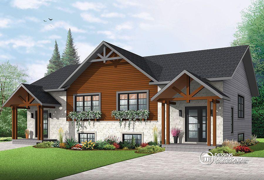 Détail du plan de Maison multi logements W3049-V1 Logement - Plan Maison Moderne  Chambres