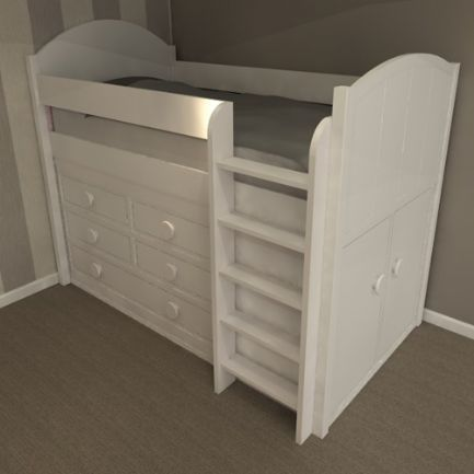 Glacier high sleeper storage bed suitable for girls and boys Simple yet elegant range With storage cupboard 1 large drawer and 4 smaller drawers. & Pin by Louetta Anitra on Piccs | Pinterest | Mid sleeper Storage ...
