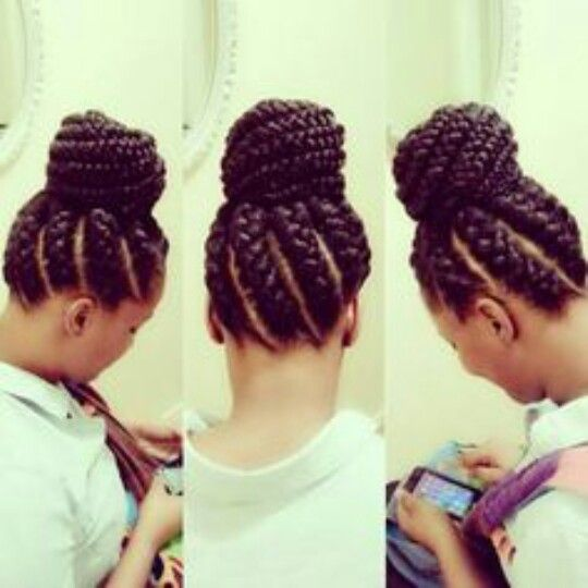 Jumbo Braids Into A Bun Natural Hair Styles Hair Styles Goddess Braids Hairstyles