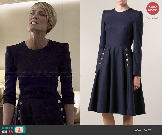 Claire S Navy Flared Dress With Gold Buttons On House Of Cards